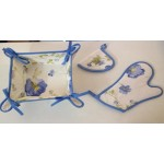 FIRENZE ARREDO -  Pansè cestino portapane + guanto forno e presina - variante azzurro