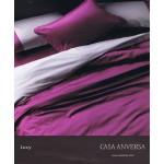 CASA ANVERSA  - completo copripiumino LUCY BICOLORE - singolo - variante rubino/grigio